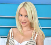 Arteya - blonde teen showing off her natural breasts 6