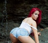 Harley strips naked under a waterfall 3