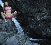 Lily poses and strips by the waterfall 8
