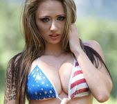 Lily poses in Yosemite Park and teases in a sexy USA bikini 5