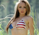 Lily poses in Yosemite Park and teases in a sexy USA bikini 14