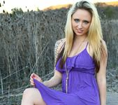 Lily plays with her pussy in her purple dress 3