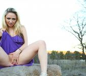 Lily plays with her pussy in her purple dress 5