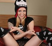 Lily teases in socks and hat 8