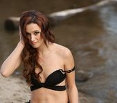 Hayden poses in her sexy bikini in the sand 6