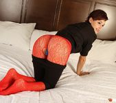 Hayden teases in her crotchless red mesh 3