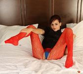 Hayden teases in her crotchless red mesh 5