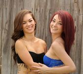 Kylie and Camryn have some fence fun 6