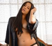 Bella teases in her black robe 7