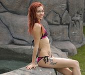Taylor strips by the waterfall 3