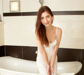 Vivien - Thin brunette teen taking a bath 3