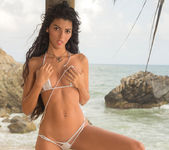 Angela Diaz - long haired bikini babe on the beach 7