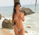 Angela Diaz - long haired bikini babe on the beach 9