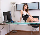 Naughty secretary Debora Alta touching her pussy 2