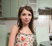 Teeny Jemma getting naked in the kitchen 2