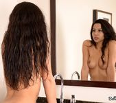 Bella strips with her coffee 11