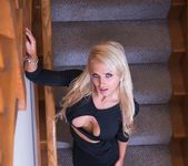 Hot blondie Alix Lynx gargles with a big cock on the stairs 14
