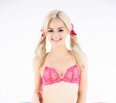 Elsa Jean poses in pigtails on the PUBA couch 2