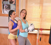 Double Ended Dildo Delights - Lesbians X-Rated Gym Routine 4