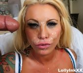 Lolly gets her pretty face covered in cum - Lolly Ink 12