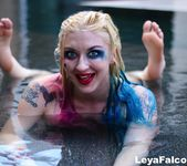 Busty Leya nude and wet in the pool - Leya Falcon 5