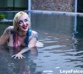 Busty Leya nude and wet in the pool - Leya Falcon 10