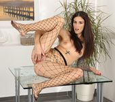 Brunette babe Ali Bordeaux pisses in fishnets 11
