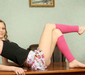 Aimee - thin teen naked on the office table 4