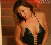 Alischa - mature woman on the stairs with her dildo 8