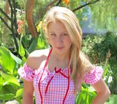 Alanna - blonde schoolgirl outdoors naked 3
