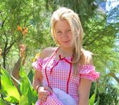 Alanna - blonde schoolgirl outdoors naked 4