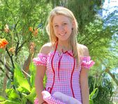 Alanna - blonde schoolgirl outdoors naked 6