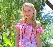 Alanna - blonde schoolgirl outdoors naked 7
