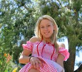 Alanna - blonde schoolgirl outdoors naked 9
