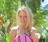 Alanna - blonde schoolgirl outdoors naked 11