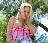 Alanna - blonde schoolgirl outdoors naked 14