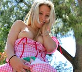 Alanna - blonde schoolgirl outdoors naked 15