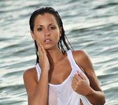Janessa Brazil - Sexy See Through White Shirt at the Beach 4