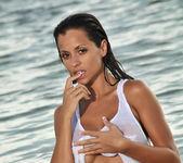 Janessa Brazil - Sexy See Through White Shirt at the Beach 5