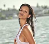 Janessa Brazil - Sexy See Through White Shirt at the Beach 12