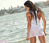 Janessa Brazil - Sexy See Through White Shirt at the Beach 13