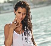 Janessa Brazil - Sexy See Through White Shirt at the Beach 15
