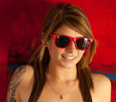 Busty teen babe Hailey Leigh poses with sexy red sunglasses 12