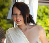 Natasha Belle strips out of her elegant dress while outside 2
