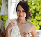 Natasha Belle strips out of her elegant dress while outside 3