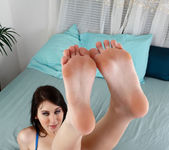 Luna teases with her sexy feet and nice shaved pussy 2