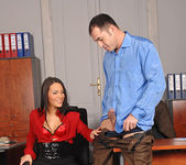 Amabella gives the boss a footjob 6
