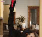 Tori Black With Black Dildo In A Black Suit 5