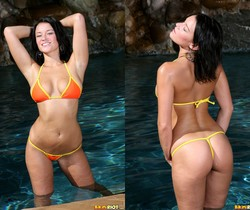 Devi Emmerson - Orange Thong Bikini in the Pool