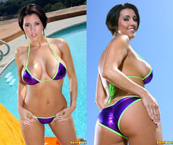 Dylan Ryder - Shiny Purple Scrunch Bikini & Dildo
